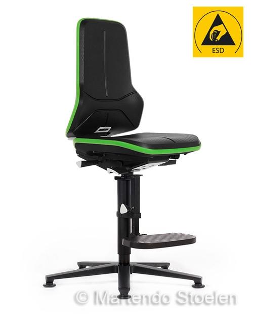 Werkplaatsstoel Bimos ESD Neon 3 met permanentcontact