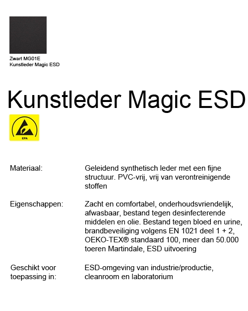 Bimos Neon Kussenset Kunstleder Magic ESD Zwart