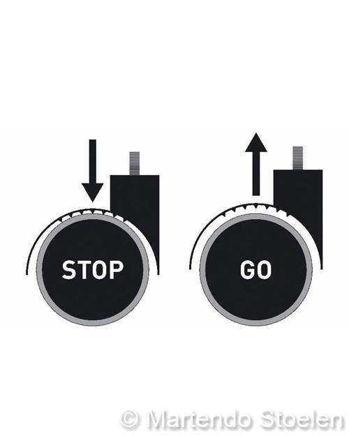 Kassastoel Bimos Sintec 2 permanentcontact+zitneig+wielen