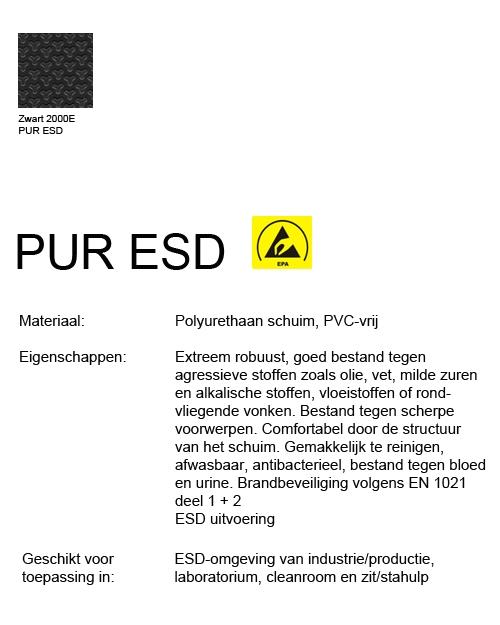 Werkstoel Bimos ESD Sintec 1 permanentcontact met glijders